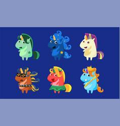 cute unicorns set funny fantastic animals vector image