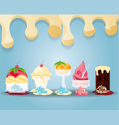 delicious ice cream set menu vector image