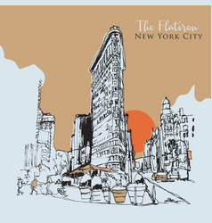 drawing sketch he flatiron building in new vector image