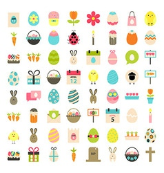 Easter big flat styled icons set over white vector
