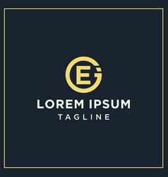 ej or ei circle logo vector image