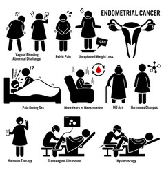 endometrial cancer symptoms causes risk factors vector image