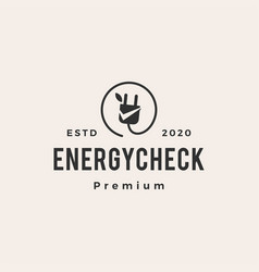 energy check leaf hipster vintage logo icon vector image
