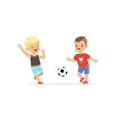 Flat two little boys playing football vector
