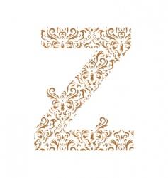 floral letter z ornament font vector image
