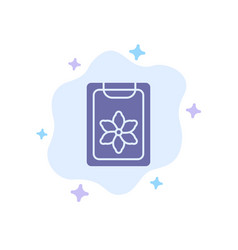 flower clipboard spring clip blue icon on vector image