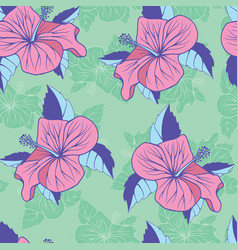 flowers hibiscus exotic seamless decorative vector image