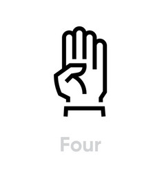 four hand gesture icon editable line vector image