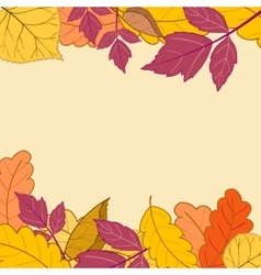 Frame with bright autumn leaves-01 vector