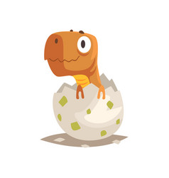 Funny dinosaur baby hatching from egg vector