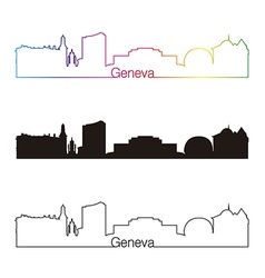 Geneva skyline linear style with rainbow vector image