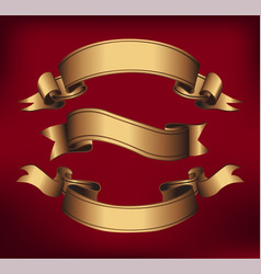 Gold ribbons horizontal banners vector