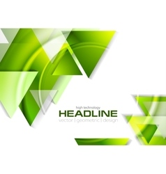 Green glossy tech triangles background vector image