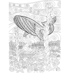 Hand drawn humpback whale in the waves vector