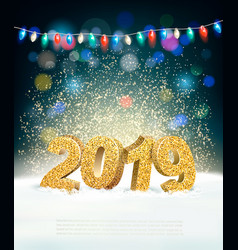 holiday new year background with 2019 and garland vector image