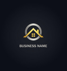 Home realty roof gold logo vector