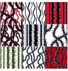 horror art style seamless patterns set vector image