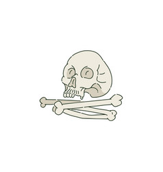 Human skull or cranium and pile bones in sketch vector
