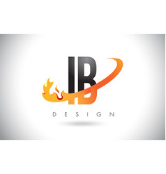 Ib i b letter logo with fire flames design vector