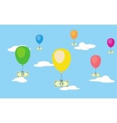 illsustration of flying dollar money on air vector image
