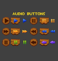 Isolated colored wooden audio buttons vector