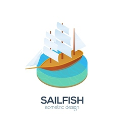 isometric sailboat icon vector image
