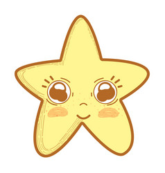 Kawaii cute star with big eyes and cheeks vector