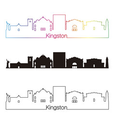 Kingston skyline linear style with rainbow vector