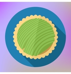 Kiwi fruit cupcake top view flat vector image