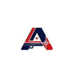 Letter a firearm monogram modern logo vector