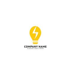 light bulb and lightning bolt logo template vector image