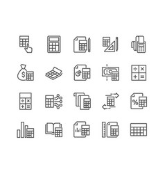 line calculation icons vector image