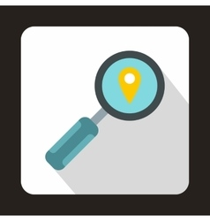 Magnifying glass and pin pointer icon flat style vector image