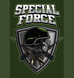 military skull wearing helmet and crossing rifles vector image