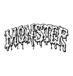 monster text horror melt vector image