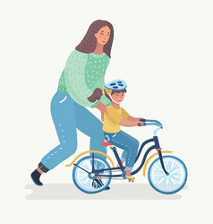 mother teaching girl to ride bike vector image