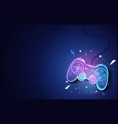 Neon future game pad background vector