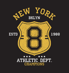 new york bklyn vintage number graphic for t-shirt vector image