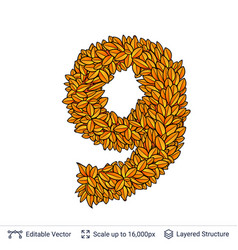 Number nine of autumn leaves vector