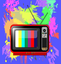 old colour tv with antenna vector image