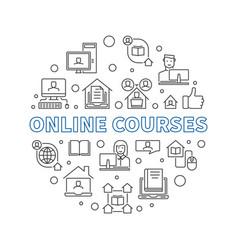 online courses outline concept round vector image