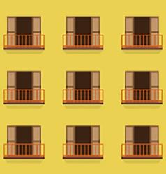 Open Doors With Balcony Vintage Style vector