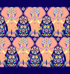 pattern with elephant and abstract flowers vector image