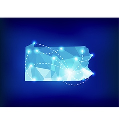 Pennsylvania state map polygonal with spot lights vector image