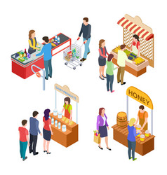 people buy food isometric grocery store and farm vector image
