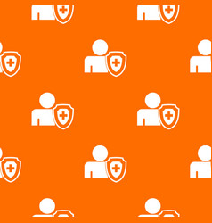 person and medical cross protection shield pattern vector image