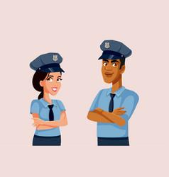 policeman and policewoman standing together vector image