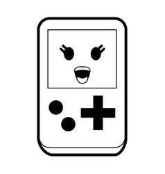 Portable handheld game console kawaii style icon vector