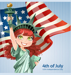 Poster with a beautiful statue liberty vector