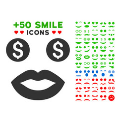 Prostitute smile icon with bonus facial collection vector